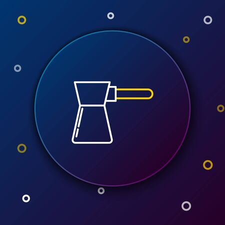 White and yellow line Coffee turk icon isolated on dark blue background. Colorful outline concept. Vector Illustration Illustration