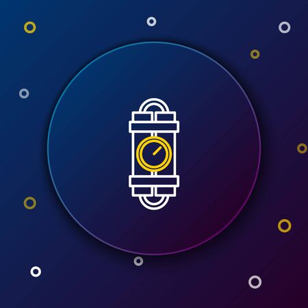 White and yellow line Detonate dynamite bomb stick and timer clock icon isolated on dark blue background. Time bomb - explosion danger concept. Colorful outline concept. Vector Illustration