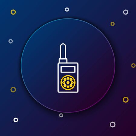 White and yellow line Walkie talkie icon isolated on dark blue background. Portable radio transmitter icon. Radio transceiver sign. Colorful outline concept. Vector Illustration