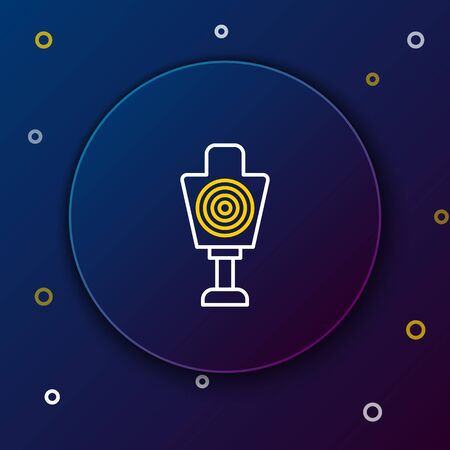 White and yellow line Human target sport for shooting icon isolated on dark blue background. Clean target with numbers for shooting range or shooting. Colorful outline concept. Vector Illustration 向量圖像