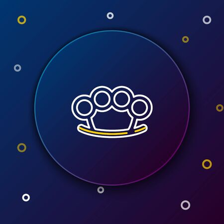 White and yellow line Brass knuckles icon isolated on dark blue background. Colorful outline concept. Vector Illustration