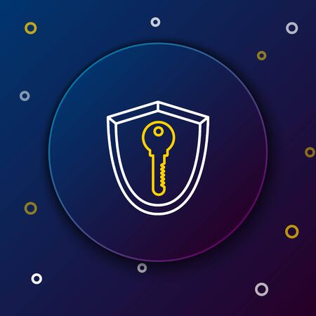 White and yellow line Shield with key icon isolated on blue background. Protection and security concept. Safety badge icon. Privacy banner. Defense tag. Colorful outline concept. Vector Illustration Illusztráció