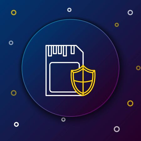 White and yellow line SD card and shield icon isolated on blue background. Memory card. Adapter icon. Security, safety, protection, privacy concept. Colorful outline concept. Vector Illustration 일러스트
