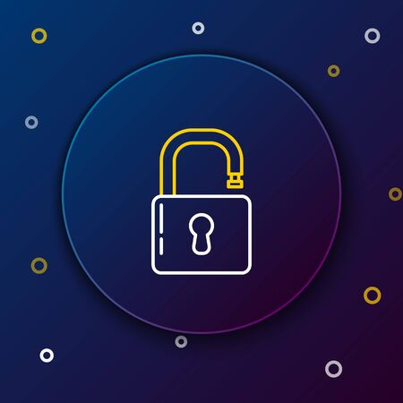 White and yellow line Open padlock icon isolated on blue background. Opened lock sign. Cyber security concept. Digital data protection. Safety safety. Colorful outline concept. Vector Illustration Illusztráció