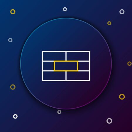 White and yellow line Bricks icon isolated on blue background. Colorful outline concept. Vector Illustration Çizim