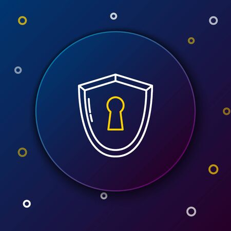 White and yellow line Shield with keyhole icon isolated on blue background. Protection, security concept. Safety badge icon. Privacy banner. Defense tag. Colorful outline concept. Vector Illustration