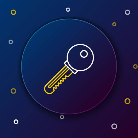 White and yellow line Key icon isolated on blue background. Colorful outline concept. Vector Illustration Çizim
