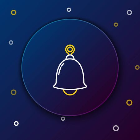 White and yellow line Ringing bell icon isolated on blue background. Alarm symbol, service bell, handbell sign, notification symbol. Colorful outline concept. Vector Illustration  イラスト・ベクター素材