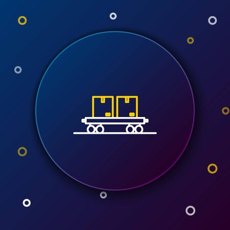 White and yellow line Railway carriage icon isolated on blue background. Colorful outline concept. Vector Illustration Illustration