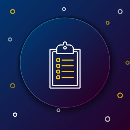 White and yellow line Verification of delivery list clipboard icon isolated on blue background. Colorful outline concept. Vector Illustration