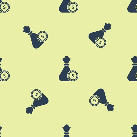 Blue Money bag and casino chips icon isolated seamless pattern on yellow background. Dollar or USD symbol. Cash Banking currency sign. Vector Illustration Ilustracja