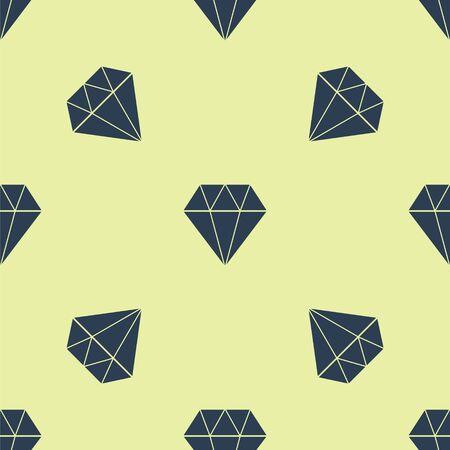 Blue Diamond icon isolated seamless pattern on yellow background. Jewelry symbol. Gem stone. Vector Illustration