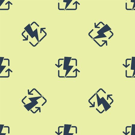 Blue Recharging icon isolated seamless pattern on yellow background. Electric energy sign. Vector Illustration