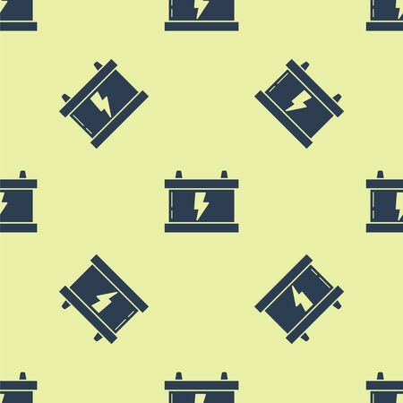 Blue Car battery icon isolated seamless pattern on yellow background. Accumulator battery energy power and electricity accumulator battery. Lightning bolt. Vector Illustration Иллюстрация