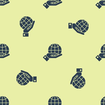 Blue Human hands holding Earth globe icon isolated seamless pattern on yellow background. Save earth concept. Vector Illustration