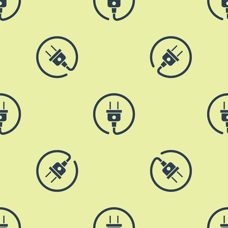 Blue Electric plug icon isolated seamless pattern on yellow background. Concept of connection and disconnection of the electricity. Vector Illustration Иллюстрация