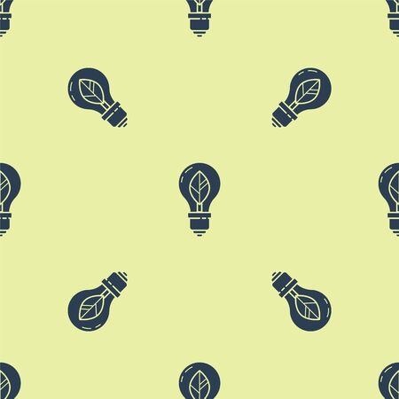 Blue Light bulb with leaf icon isolated seamless pattern on yellow background. Eco energy concept. Alternative energy concept. Vector Illustration