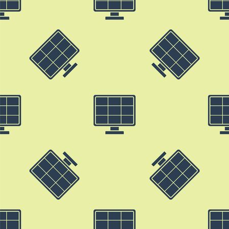 Blue Solar energy panel icon isolated seamless pattern on yellow background. Vector Illustration