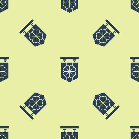 Blue Street signboard with four leaf clover icon isolated seamless pattern on yellow background. Suitable for advertisements bar, cafe, pub. Vector Illustration