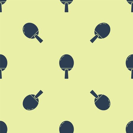Blue Racket for playing table tennis icon isolated seamless pattern on yellow background. Vector Illustration 向量圖像