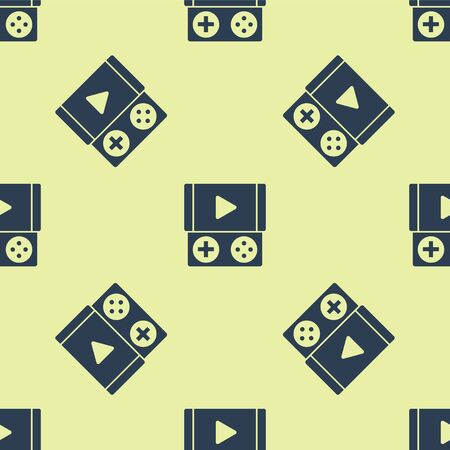 Blue Portable video game console icon isolated seamless pattern on yellow background. Gamepad sign. Gaming concept. Vector Illustration