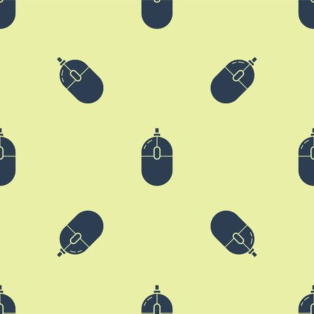 Blue Computer mouse icon isolated seamless pattern on yellow background. Optical with wheel symbol. Vector Illustration
