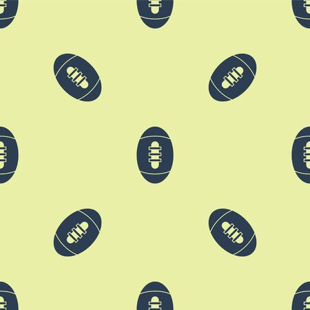 Blue American Football ball icon isolated seamless pattern on yellow background. Rugby ball icon. Team sport game symbol. Vector Illustration