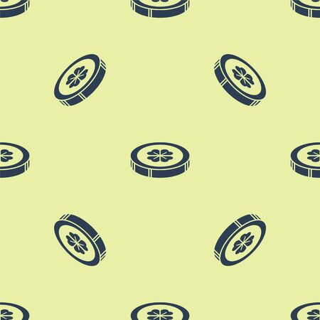 Blue Gold coin with four leaf clover icon isolated seamless pattern on yellow background. Happy Saint Patricks day. Vector Illustration Ilustracja