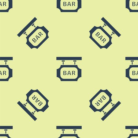 Blue Street signboard with inscription Bar icon isolated seamless pattern on yellow background. Suitable for advertisements bar, cafe, pub, restaurant. Vector Illustration