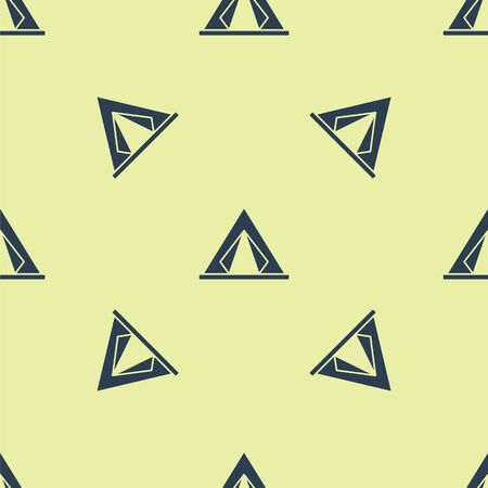 Blue Tourist tent icon isolated seamless pattern on yellow background. Camping symbol. Vector Illustration