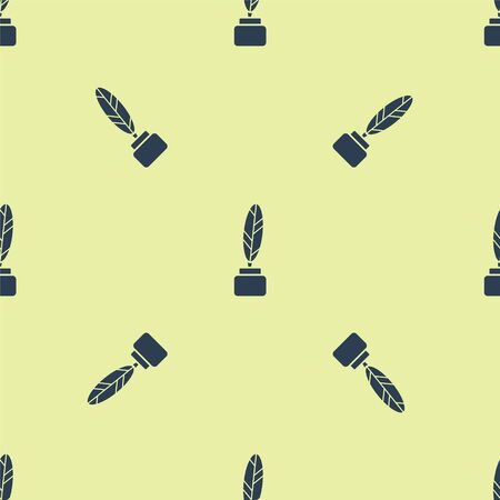 Blue Feather and inkwell icon isolated seamless pattern on yellow background. Vector Illustration
