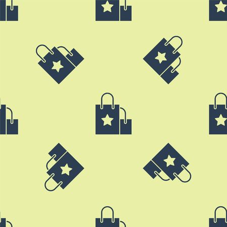 Blue Paper shopping bag icon isolated seamless pattern on yellow background. Package sign. Vector Illustration Stock Illustratie