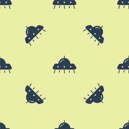 Blue UFO flying spaceship icon isolated seamless pattern on yellow background. Flying saucer. Alien space ship. Futuristic unknown flying object. Vector Illustration Illusztráció