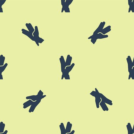 Blue Vulcan salute icon isolated seamless pattern on yellow background. Hand with vulcan greet. Spock symbol. Vector Illustration