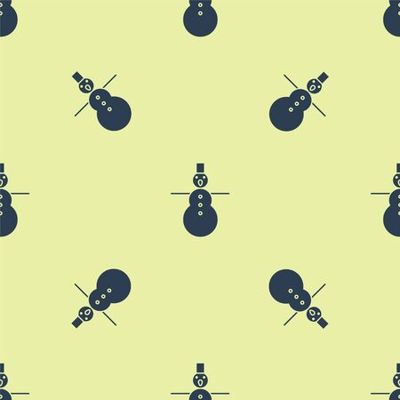 Blue Christmas snowman icon isolated seamless pattern on yellow background. Merry Christmas and Happy New Year. Vector Illustration