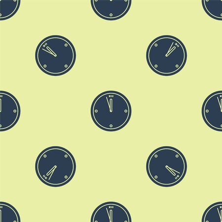 Blue Clock icon isolated seamless pattern on yellow background. Time symbol. Merry Christmas and Happy New Year. Vector Illustration