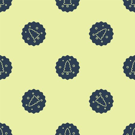 Blue Cookie or biscuit with chocolate icon isolated seamless pattern on yellow background. Vector Illustration Illusztráció