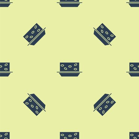 Blue Nougat with nuts icon isolated seamless pattern on yellow background. Vector Illustration