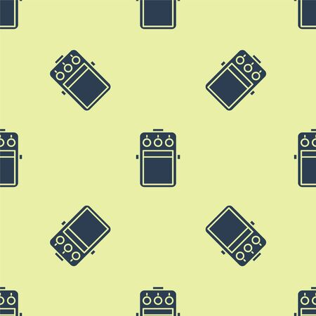 Blue Guitar pedal icon isolated seamless pattern on yellow background. Musical equipment. Vector Illustration