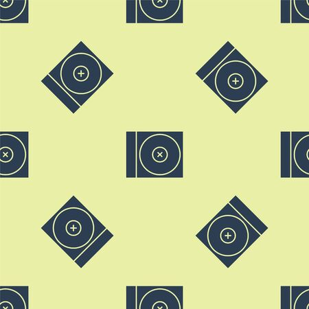 Blue CD or DVD disk icon isolated seamless pattern on yellow background. Compact disc sign. Vector Illustration