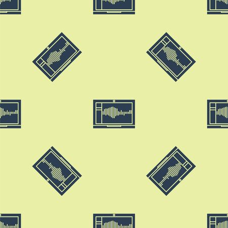 Blue Sound or audio recorder or editor software on laptop icon isolated seamless pattern on yellow background. Vector Illustration Illusztráció
