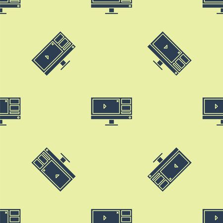 Blue Video recorder or editor software on computer monitor icon isolated seamless pattern on yellow background. Vector Illustration