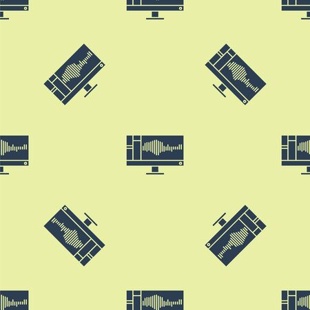 Blue Sound or audio recorder or editor software on computer monitor icon isolated seamless pattern on yellow background. Vector Illustration