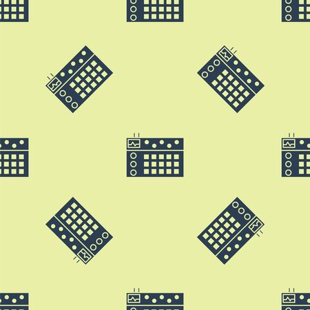 Blue Drum machine icon isolated seamless pattern on yellow background. Musical equipment. Vector Illustration