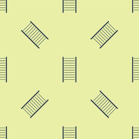 Blue Wooden staircase icon isolated seamless pattern on yellow background. Vector Illustration