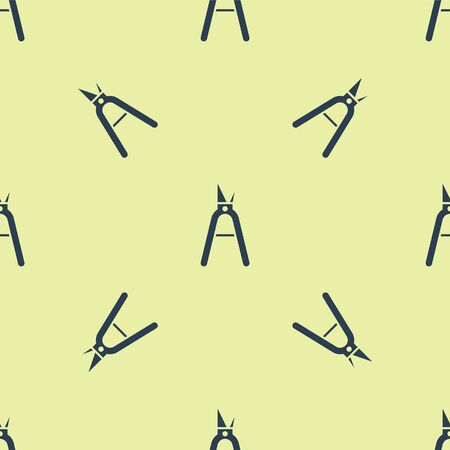 Blue Gardening handmade scissors for trimming icon isolated seamless pattern on yellow background. Pruning shears with wooden handles. Vector Illustration