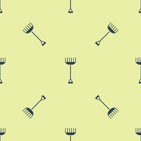 Blue Garden rake icon isolated seamless pattern on yellow background. Tool for horticulture, agriculture, farming. Ground cultivator. Housekeeping equipment. Vector Illustration Ilustracja