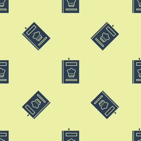 Blue Cookbook icon isolated seamless pattern on yellow background. Cooking book icon. Recipe book. Fork and knife icons. Cutlery symbol. Vector Illustration Stock Illustratie