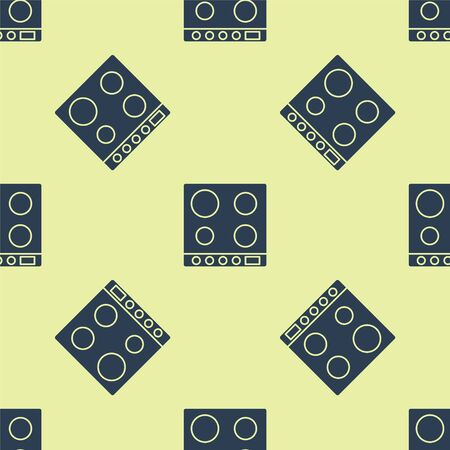 Blue Gas stove icon isolated seamless pattern on yellow background. Cooktop sign. Hob with four circle burners. Vector Illustration