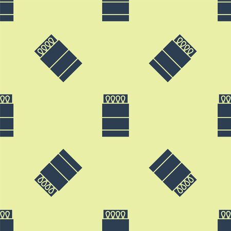 Blue Open matchbox and matches icon isolated seamless pattern on yellow background. Vector Illustration Illustration